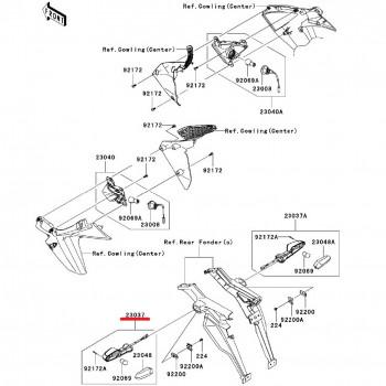 Указатель поворота Kawasaki Z1000 10-13/ ZX-10R 11-13 задний левый