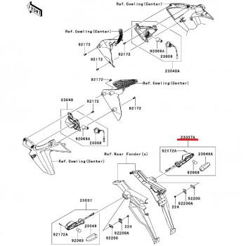 Указатель поворота Kawasaki Z1000 10-13/ ZX-10R 11-13 задний правый