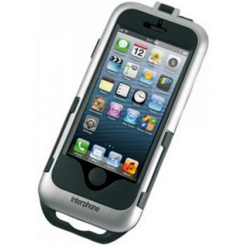 Футляр Interphone для IPhone5 с креплением для нетрубчатых рулей Silver