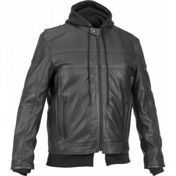 Мотокуртка кожаная River Road Cavalier Hooded Black 52