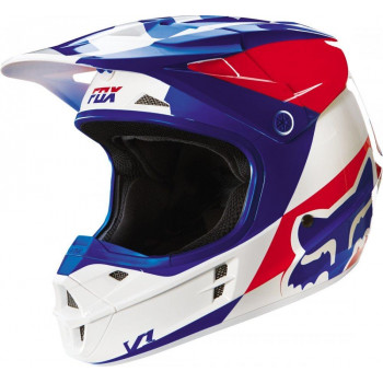 Мотошлем Fox V1 Mako Helmet Ece White-Blue XL