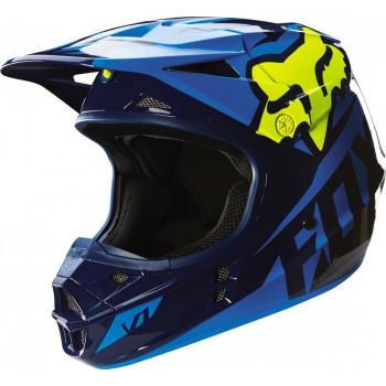 Мотошлем Fox V1 Mako Helmet Ece Blue-Yellow XXL
