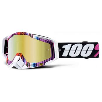 фото 1 Кроссовые маски и очки Мотоочки 100% Racecraft Glitch - Mirror Gold Lens