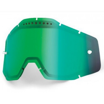 Линза 100% Racecraft/Accuri/Strata Vented Dual Pane Lens Anti-Fog - Green Mirror