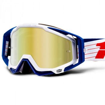 фото 1 Кроссовые маски и очки Мото очки 100% RACECRAFT Goggle Bibal/White - Mirror Gold Lens
