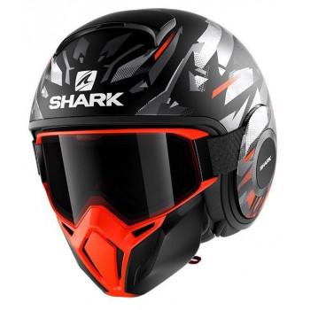 фото 1 Мотошлемы Мотошлем Shark Street Drak Kanhji Matt Black-Orange-Silver XL