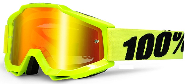 100% �������� 100% Accuri Moto Goggle Fluo Yellow - Red Mirror Lens